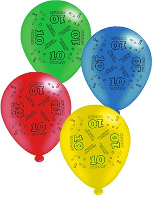 "Age 10 Assorted 10"" Latex Balloons 8pk"