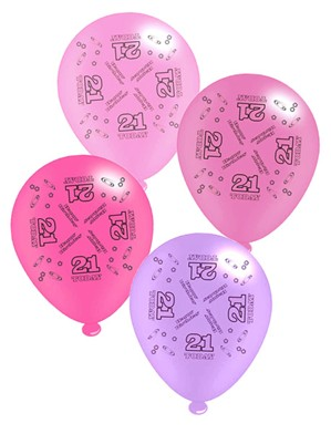 "Pink Age 21 Assorted 10"" Latex Balloons 8pk"