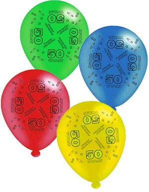 "Age 50 Assorted 10"" Latex Balloons 8pk"