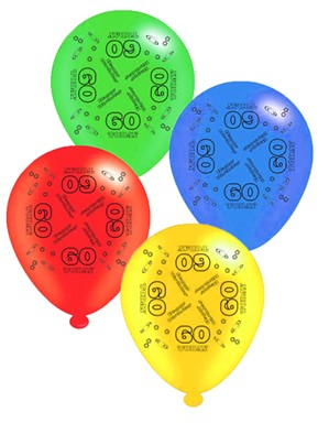 "Age 60 Assorted 10"" Latex Balloons 8pk"
