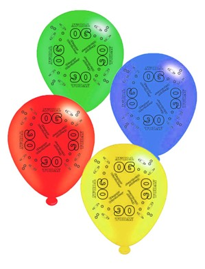 "Age 90 Assorted 10"" Latex Balloons 8pk"
