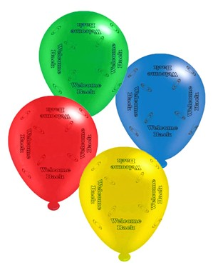 """Welcome Back Assorted 10"""" Latex Balloons 8pk"""