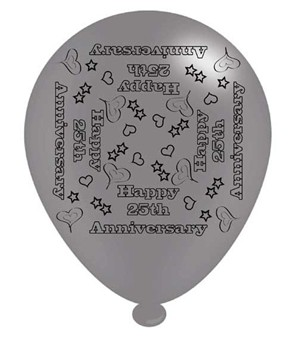 "25th Anniversary Silver 10"" Latex Balloons 8pk"
