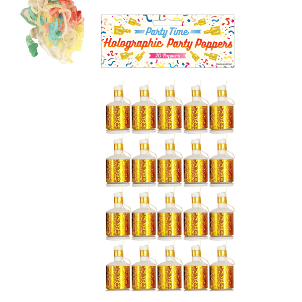 Gold Party Poppers 20pk