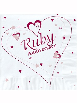 40th Ruby Anniversary Luncheon Napkins 18pk