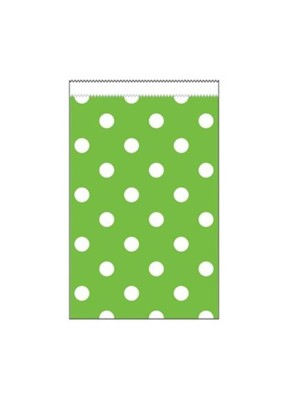 Mini Lime Green Polka Dot Paper Treat Bags 20pk