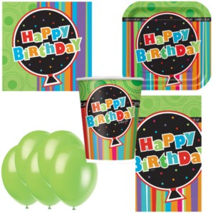 Birthday Stripes Bonus Party Pack for 8 people - 10 FREE BALLOONS