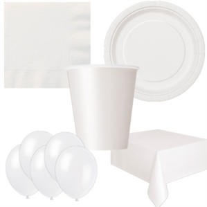 Bright White Bonus Party Pack for 8 people - 10 FREE BALLOONS