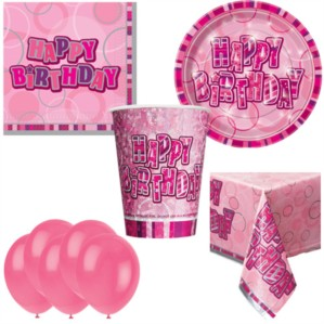 Pink Birthday Glitz Bonus Party Pack for 8 people - 10 FREE BALLOONS