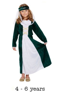 Children's Medieval Maiden Book Day Fancy Dress Costume 4 - 6 yrs