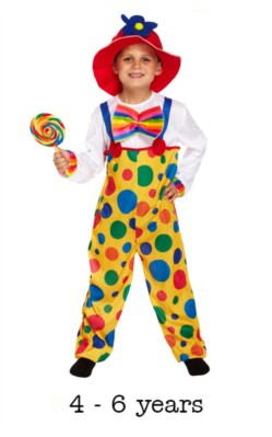 Children's Clown Fancy Dress Costume 4 - 6 yrs