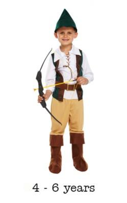 Children's Hunter Robin Hood Book Day Fancy Dress Costume 4 - 6 yrs