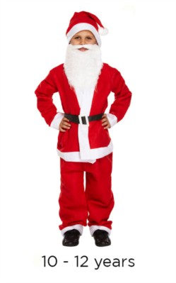 Child Christmas Santa Fancy Dress Costume 10 - 12