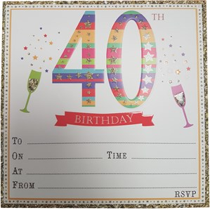 Embossed 40th Birthday Invitations & Envelopes 10pk