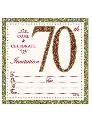 Gold Embossed 70th Birthday Invitations & Envelopes 10pk