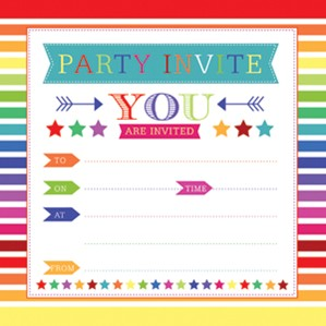 Rainbow Birthday Party Invitations & Envelopes 10pk