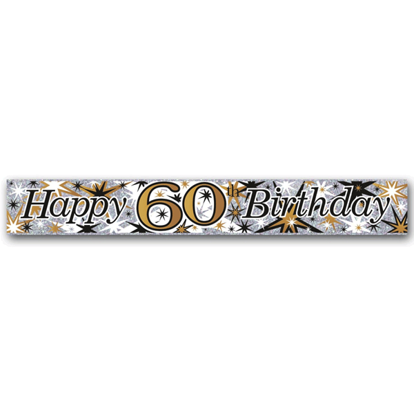 Happy 60th Birthday Holographic Foil Banner