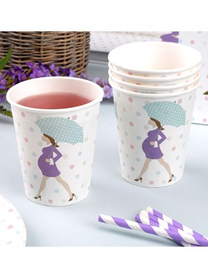 Showered with Love Baby Shower Paper Cups 8pk