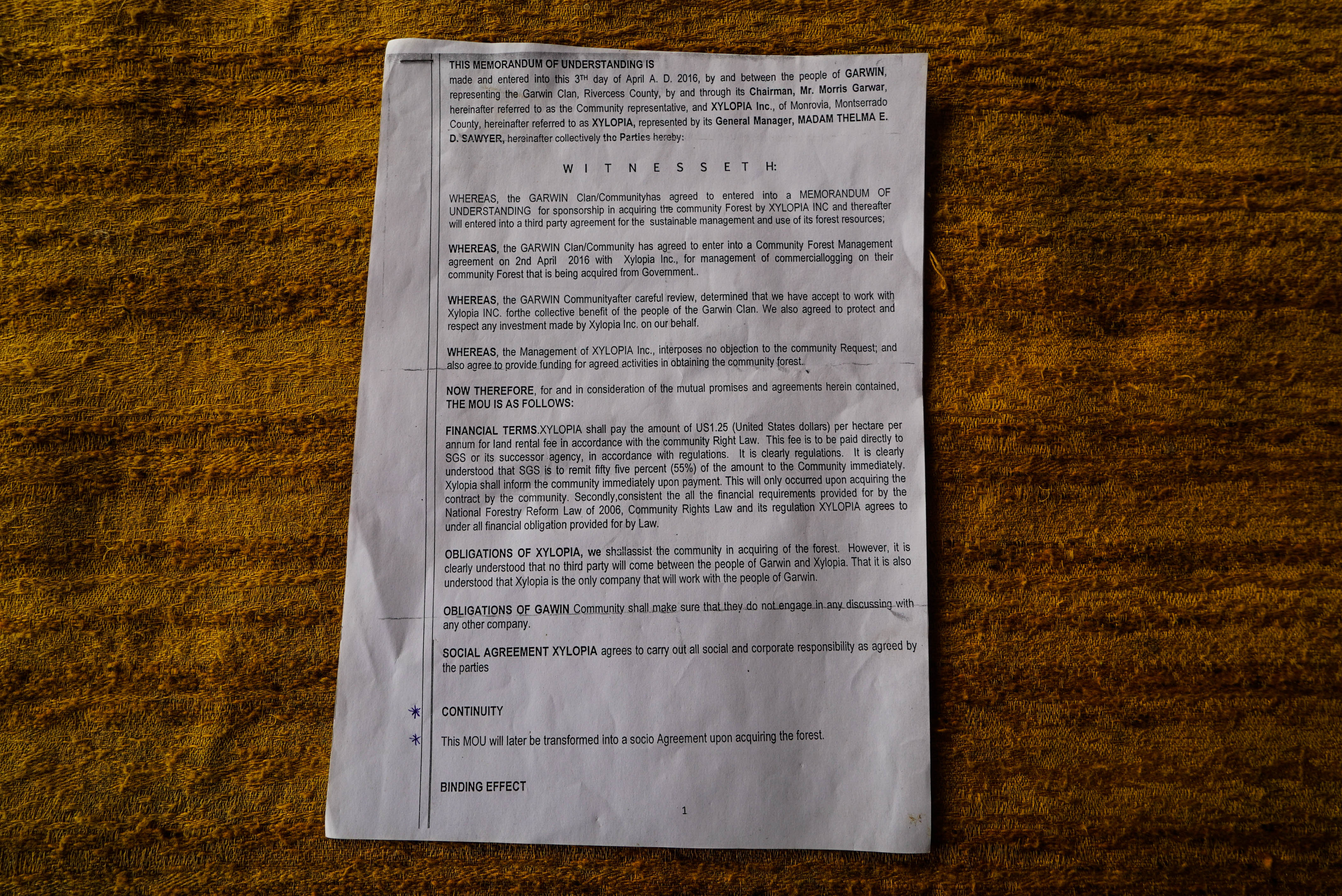 Illegal MOU with the Garwin Community