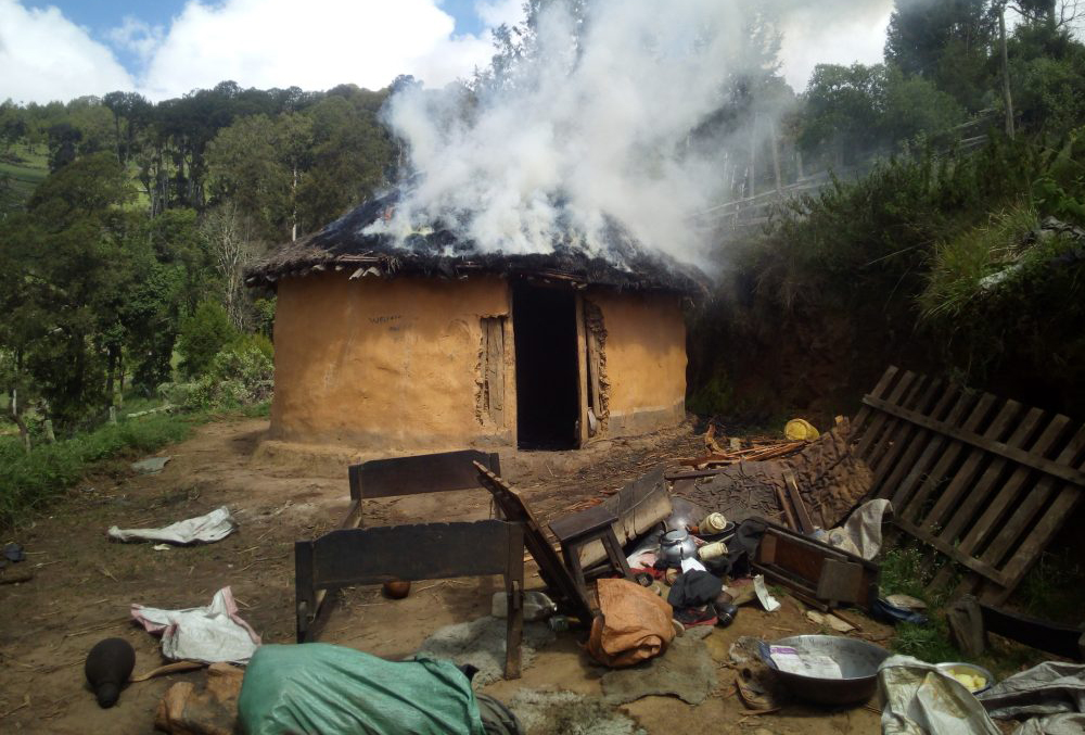 sengwer house subjected to fire