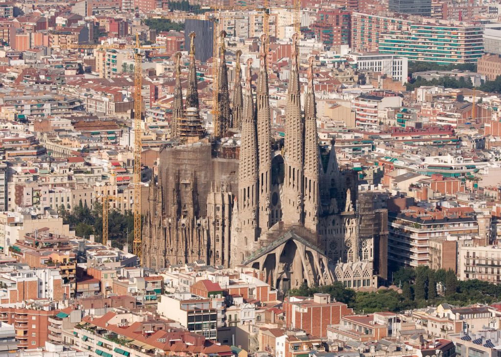 The almost finished Sagrada Familia under construction