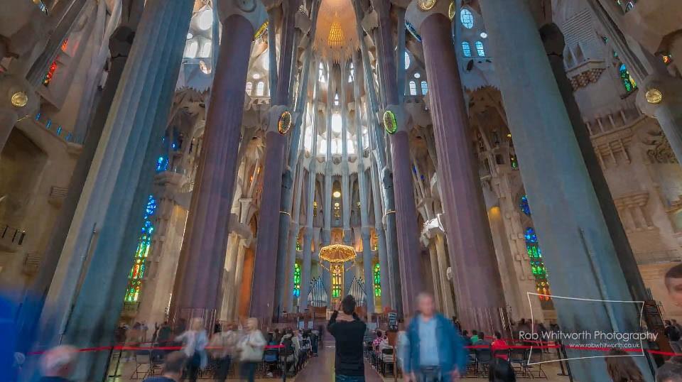 La Sagrada Familia interior Barcelona time-lapse video