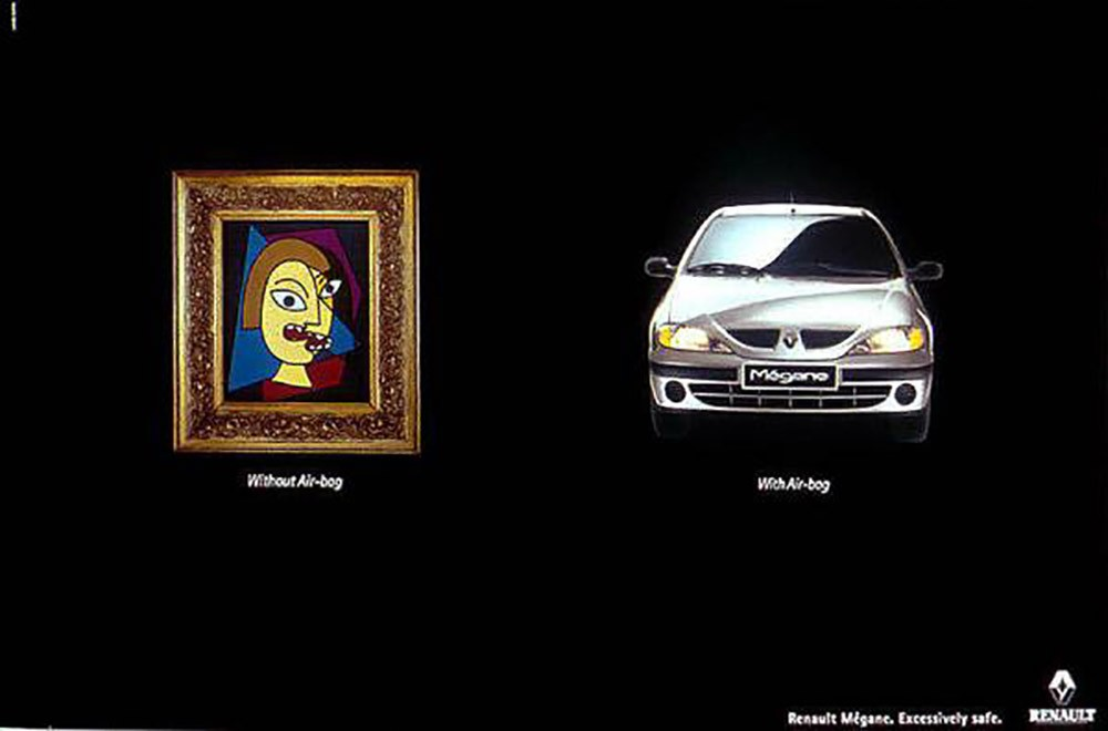 advertisements inspired by famous artists: Picasso airbag ad