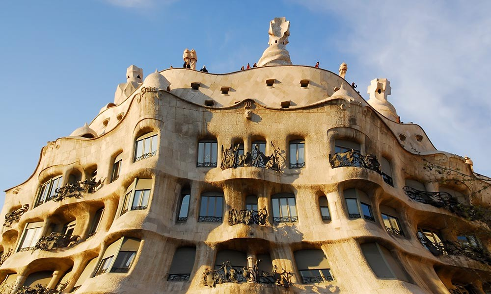 The exterior of the stunning Casa Milà in Barcelona, one of the city's architectural wonders.