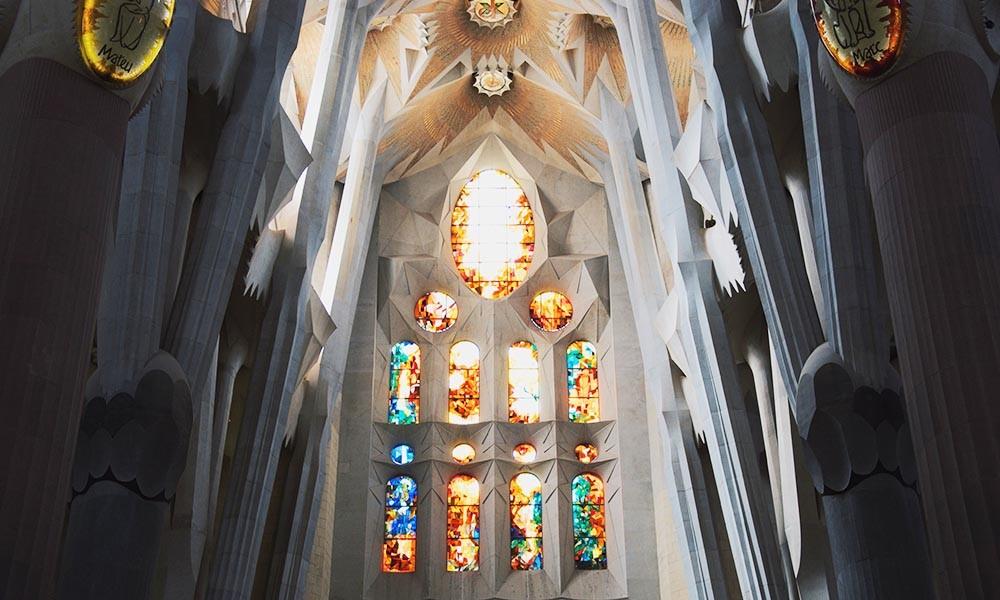An inside view of Sagrada Familia, the modernisme masterpiece of Barcelona.
