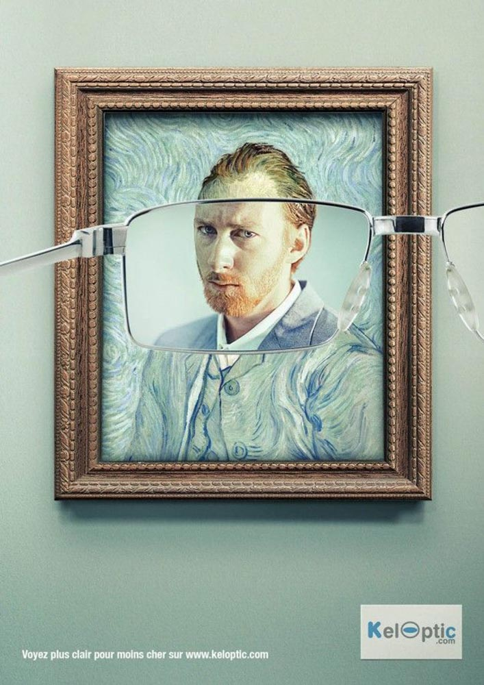 advertisements inspired by famous artists: van Gogh's self portrait