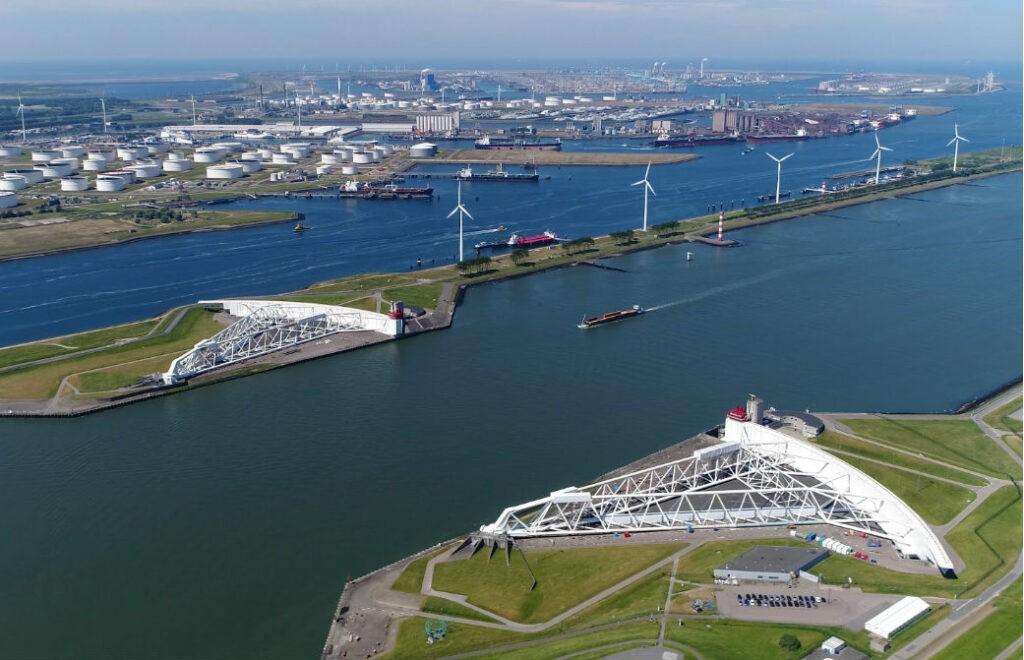 Rotterdam. Maeslantkering, storm barrier and protector of Rotterdam.