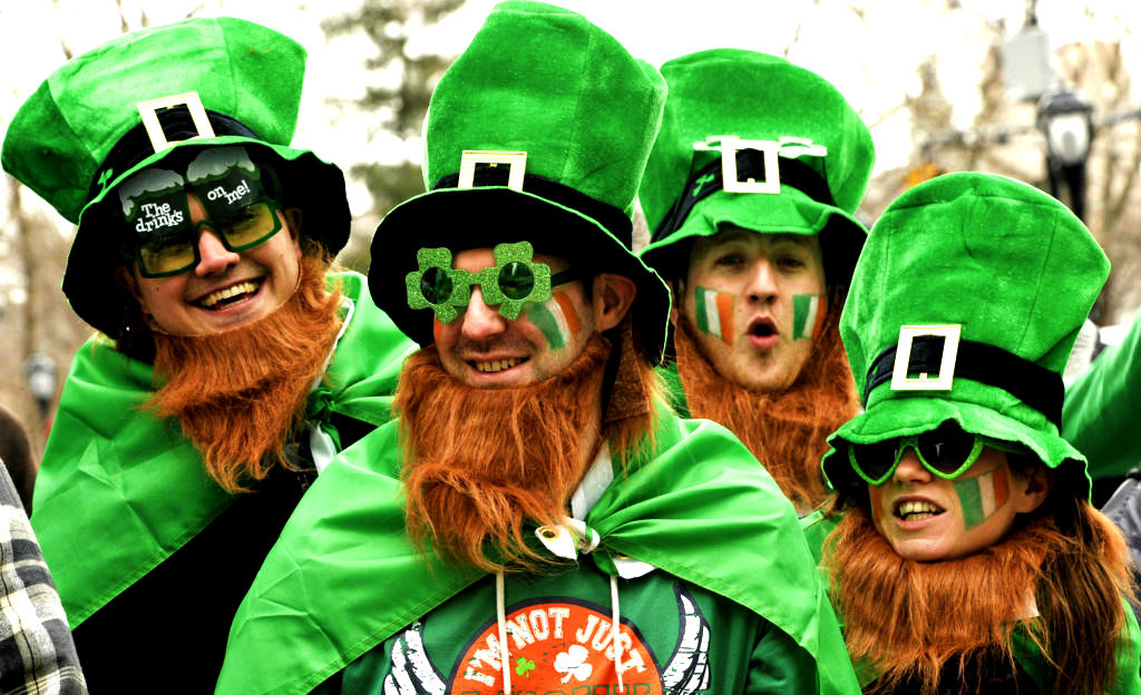 St. Patrick's Day festivities - People dressed as leprechauns. BarBurrito Canada.