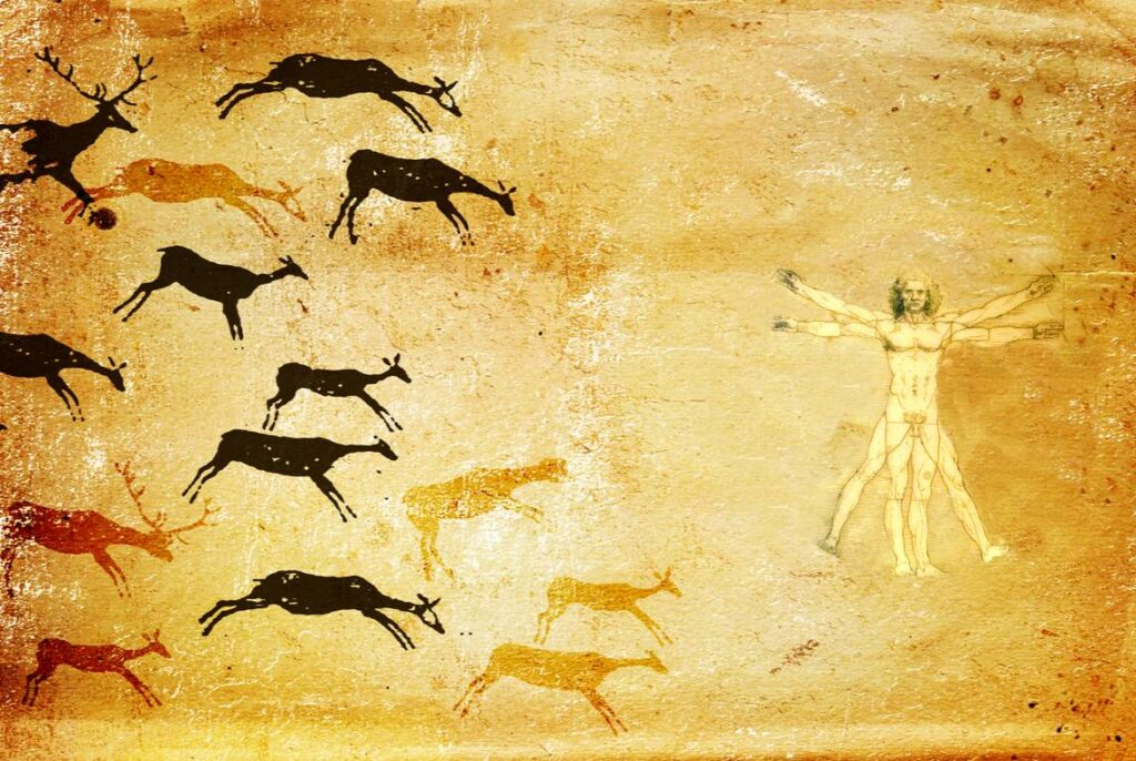 A cave painting transitions to Leonardo da Vinci's Vitruvian Man