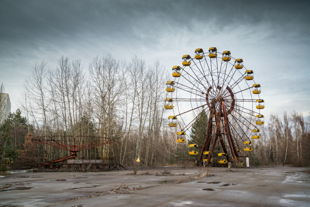 The rusting old Ferris wheel at Pripyat Amusement Park