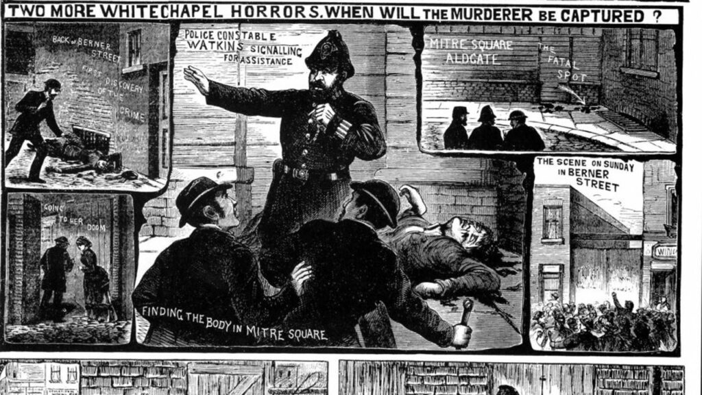 A newspaper illustration during Jack the Ripper's reign of terror
