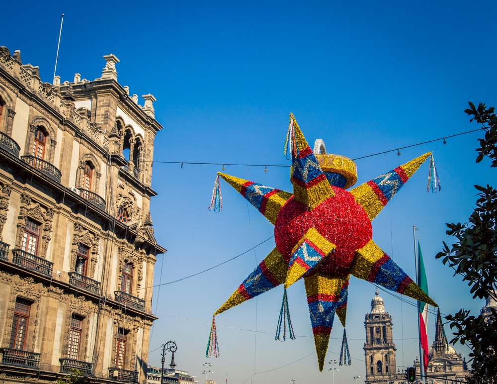 Piñatas during Christmas in Mexico