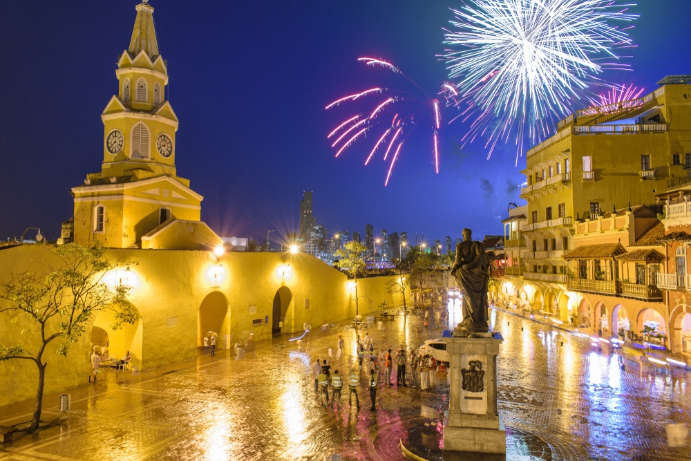 New Year's Eve fireworks in Cartagena, Colombia
