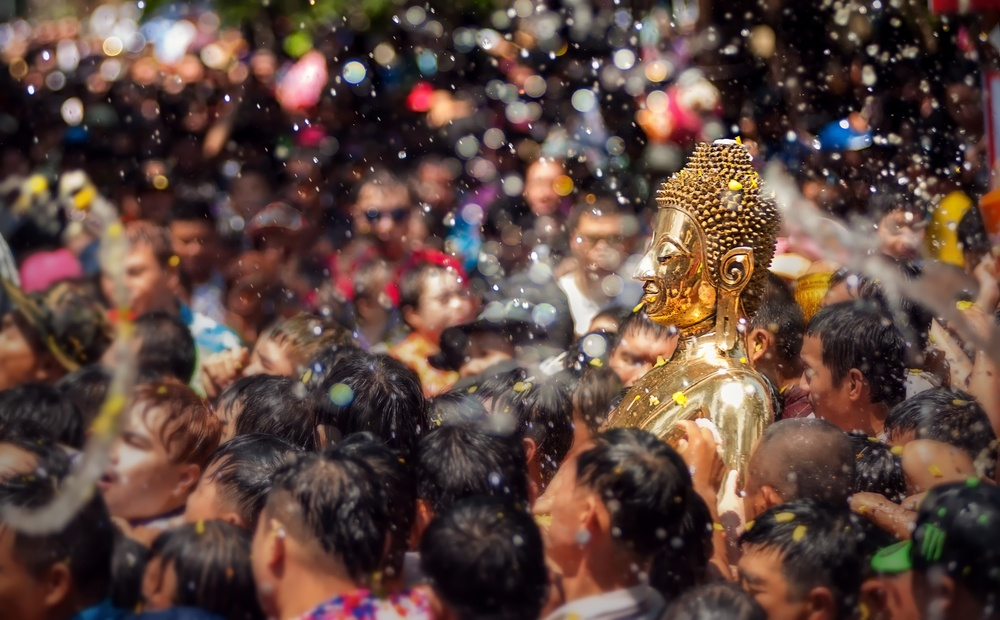 Songkran water festival during the New Year in Thailand