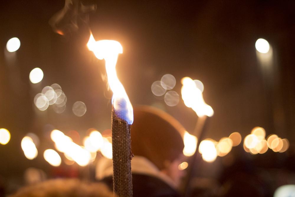Torch-lit procession during Edinburgh's Hogmanay celebrations