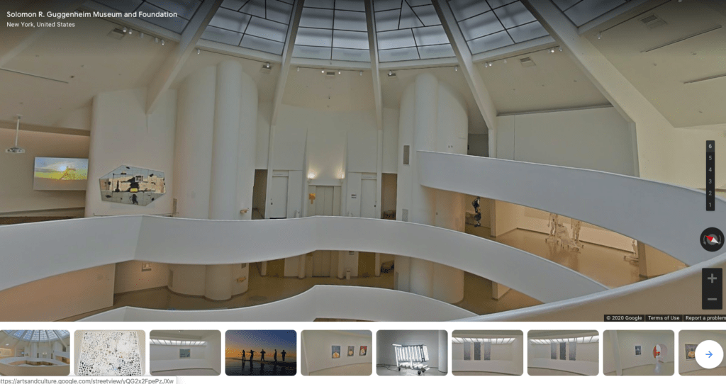 Play virtual tourist at home with this 3D virtual tour of the Guggenheim.