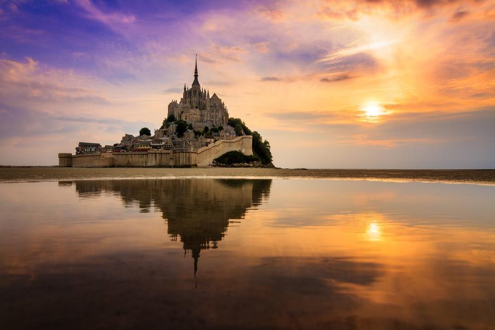 Mont Saint-Michel at sunset.