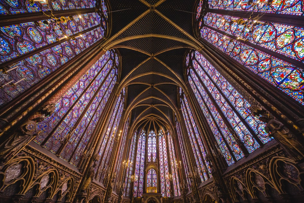 Endless colourful stained glass windows from the inside of Sainte-Chapelle.