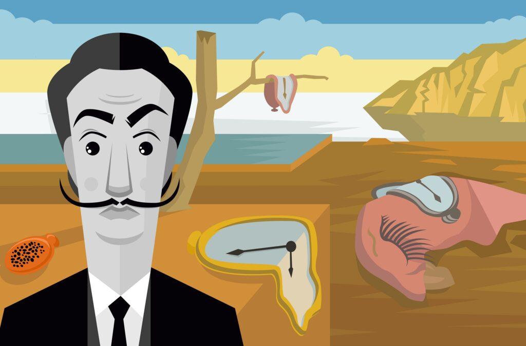 A cartoon of Salvador Dali.
