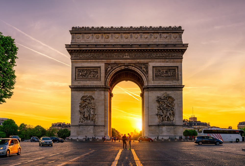 The Arc de Triomphe at sunset.