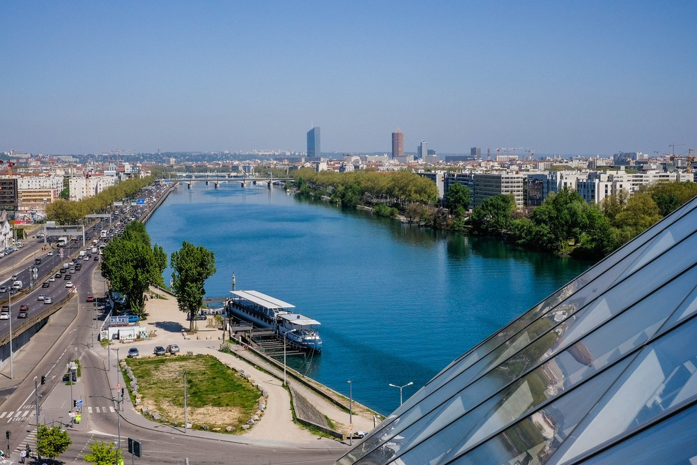 View of Lyon from the Musée des Confluences.