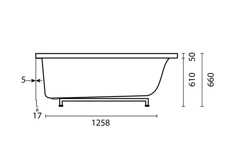 Nemo 160x100/70 badekar, høyre