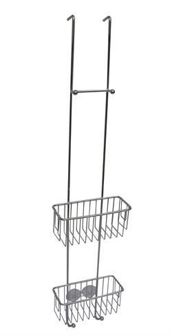 Kabina 2 hyller 18/8 høyglans smal m/4 kroker