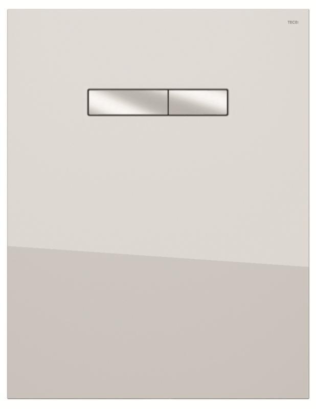 TECElux betjeningspanel hvit glass, forkrommede knapper