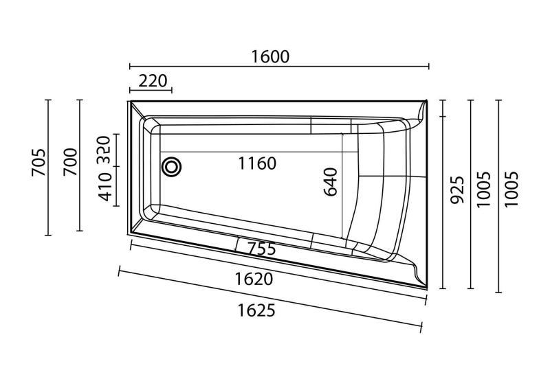 Nemo 160x100/70 badekar + Komfortpakke Design, høyre