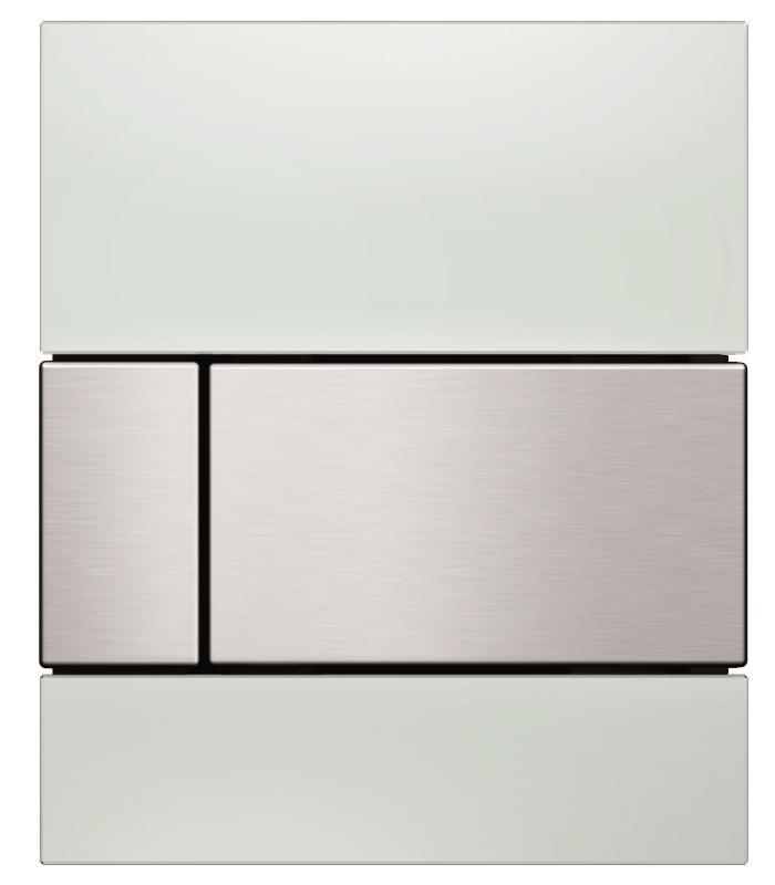 TECEsqare hvit glass knapp børstet rf.stål